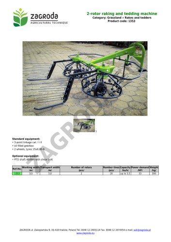 2-rotor raking and tedding machine