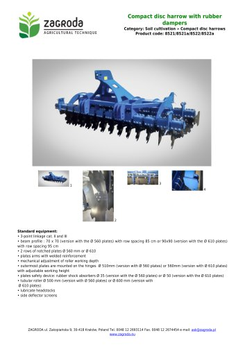 Compact disc harrow with rubber dampers