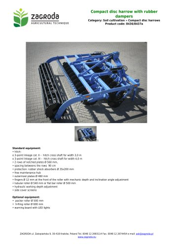 Compact disc harrow with rubber dampers,code : 8436/8437a