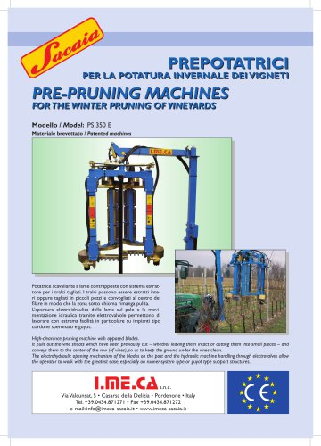 PRE-PRUNING MACHINES FOR THE WINTER PRUNING OF VINEYARDS PRE-PRUNING MACHINES FOR THE WINTER PRUNING OF VINEYARDS