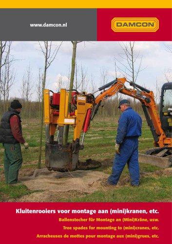 Excavator-mounted Damcon tree spades