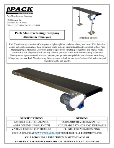 Pack Manufacturing Company Aluminum Conveyors