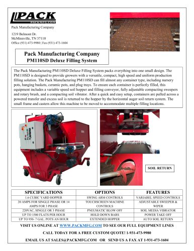 Pack Manufacturing Company PM110SD Deluxe Filling System