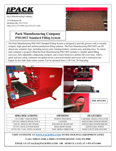 Pack Manufacturing Company PM110ST Standard Filling System