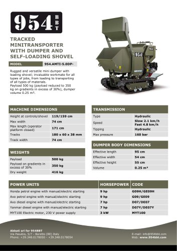 Tracked Minitransporter with Dumper and Self-Loading Shovel