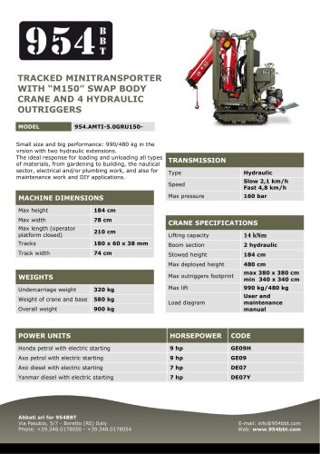 Tracked Minitransporter with M150 Swap Body Crane and 4 Hydraulic Outriggers