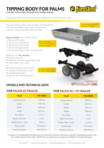 Foresteel Tipping Body brochure for PALMS